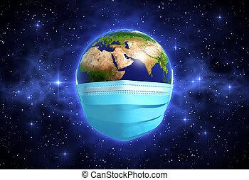orvosi, világűr, maszk, földdel feltölt