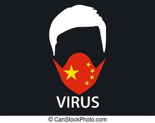 orvosi, virus., középső, vektor, kínai, légzési, coronavirus, ábra, maszk, kelet, syndrome., jelkép., 2019-ncov, arc
