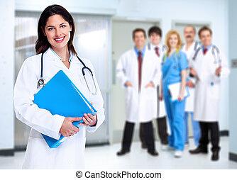 orvosi, woman mosolyog, stethoscope., orvos
