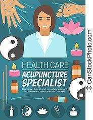 orvosság, akupunktúra, vagy, ásványvízforrás, orvos