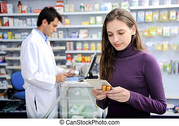 orvosság, fogyasztó, gyógyszertár