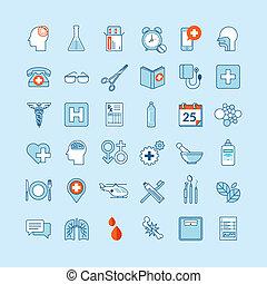 orvosság, lakás, tervezés, ikonok