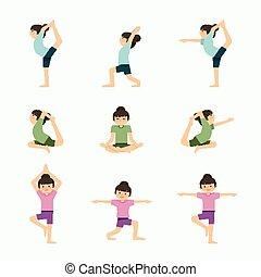 osztály, állhatatos, jóga, illustration., egészséges, concept., vektor, exercises., életmód, leány, feladat