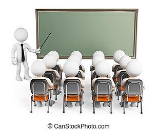 osztály, emberek., diákok, 3, fehér