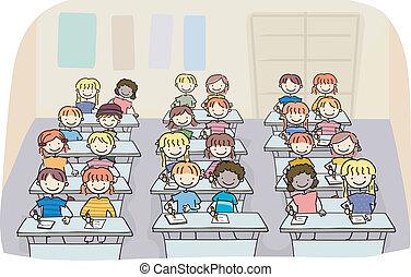 osztály, gyerekek, bot, írás