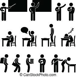 osztály, iskola hely, diák, tanár