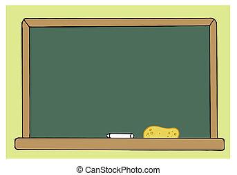 osztály, zöld, tiszta, szoba, chalkboard