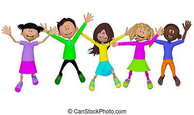 osztálytársak, gyerekek, barátok, boldog