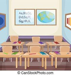 osztályterem, ábra, üres