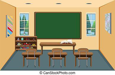 osztályterem, üres, belső