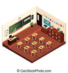 osztályterem, alapvető, isometric, izbogis