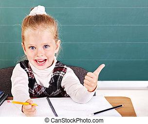 osztályterem, blackboard., iskolás gyerek