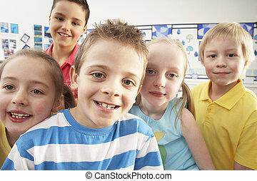 osztályterem, csoport, elemi, iskolások