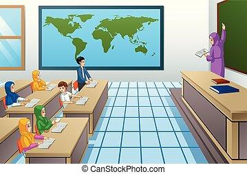 osztályterem, diákok, muzulmán, tanár, ábra
