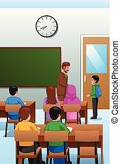 osztályterem, diákok, tanár, ábra