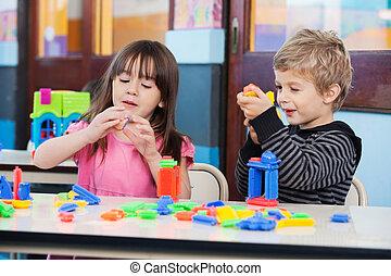 osztályterem, eltöm, játék, gyerekek