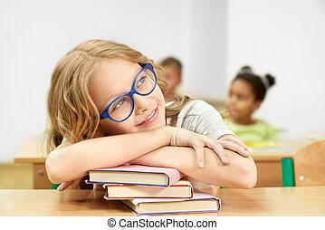 osztályterem, fej, books., vonzalom, íróasztal, leány