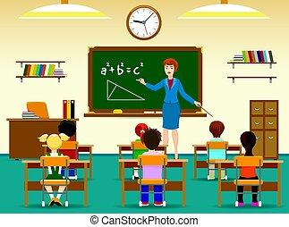 osztályterem, gyerekek, ülés