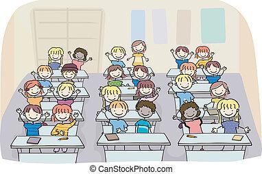 osztályterem, gyerekek, bot