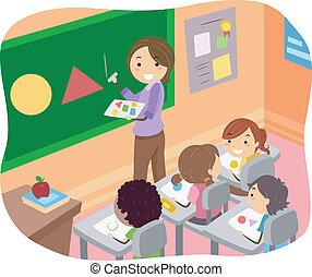 osztályterem, gyerekek, stickman, ábra, alakzat, tanulás