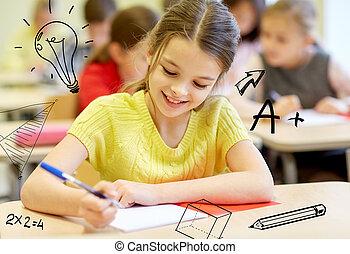 osztályterem, iskola ugrat, csoport, írás, teszt