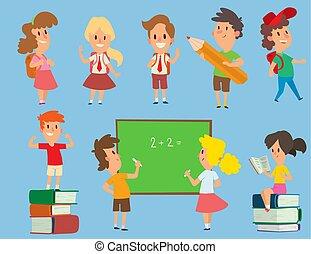 osztályterem, iskola ugrat, elemi, illustration., schoolkids, tanul, betű, fiatal, hát, vektor, oktatás, gyermekkor, preschool, boldog