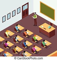 osztályterem, isometric, diák, ábra, tanár