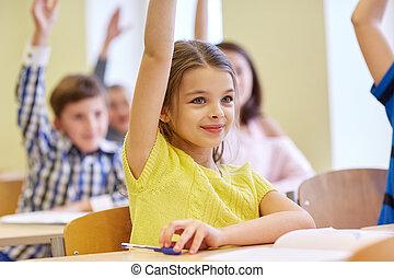 osztályterem, jegyzetfüzet, iskola ugrat, csoport