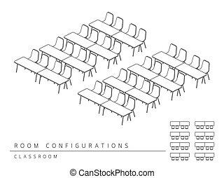 osztályterem, képzés, alaprajz, szoba, szín, berendezés, áttekintés, ábra, fekete, kilátás, mód, fehér, 3, gyűlés, tető kilátás