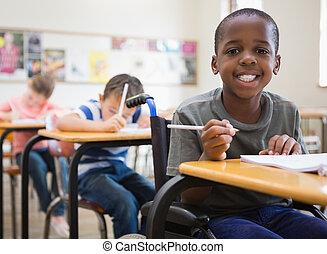 osztályterem, meghibásodott, szembogár, mosolygós, fényképezőgép