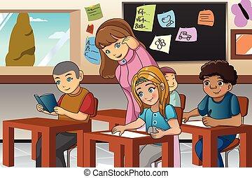 osztályterem, tanár, diák