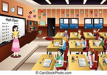 osztályterem, tanítás, tanár, matek