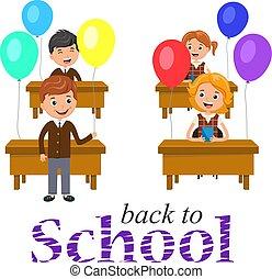 osztályterem, vagy, school., ünnepies, poszter, fogadtatás, hát, asztal, -eik, szöveg, balls., transzparens, gyerekek, boldog