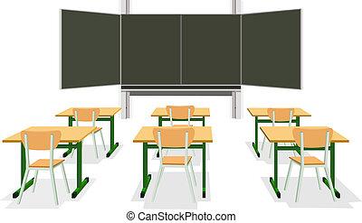 osztályterem, vektor, üres, ábra