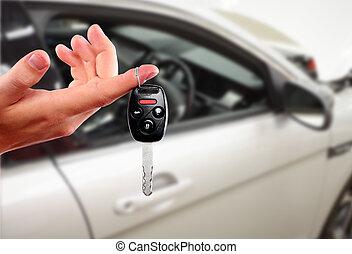 osztó, autó, key., kéz