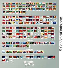 osztott, alkatrészek, zászlók, országok