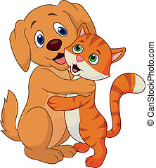 oth, csinos, átkarolás, kutya, macska, mindegyik