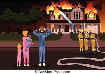 otthon, égető, feltétel, tűzoltó, robbantószerkezetek, ki