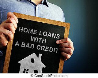 otthon, írott, kölcsönad, rossz, blackboard., hitel
