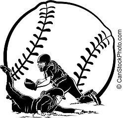 otthon, alatt, futó, címke, csúszó, softball labdajáték
