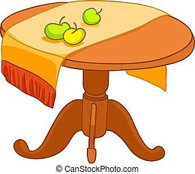 otthon, berendezés, karikatúra, asztal