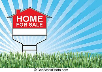 otthon, fű, vásár cégtábla