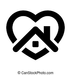 otthon, icon., szív, megállít, épület