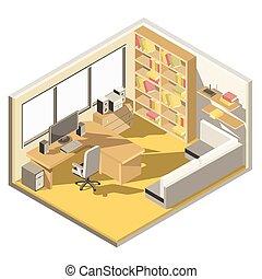 otthon, isometric, vektor, tervezés, hivatal