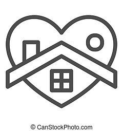 otthon, jelkép, coronavirus, szív, egyenes, fehér, izolál, mód, alakít, háttér., design., pictogram, épület, áttekintés, vektor, fogalom, háló, megakadályoz, graphics., aláír, megállít, mozgatható, icon.