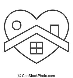otthon, jelkép, coronavirus, szív, egyenes, fehér, izolál, mód, alakít, háttér., design., pictogram, épület, áttekintés, vektor, fogalom, háló, megakadályoz, híg, graphics., aláír, megállít, mozgatható, icon.