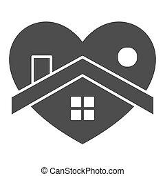 otthon, jelkép, coronavirus, szív, fehér, izolál, mód, alakít, szilárd, háttér., design., pictogram, épület, vektor, glyph, fogalom, háló, megakadályoz, graphics., aláír, megállít, mozgatható, icon.