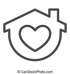 otthon, jelkép, szív, egyenes, fehér, izolál, mód, alakít, háttér., design., pictogram, épület, áttekintés, vektor, fogalom, háló, graphics., aláír, megállít, mozgatható, icon., maga