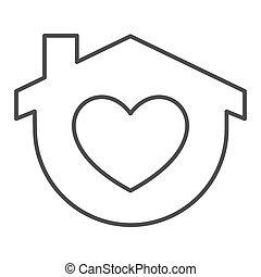 otthon, jelkép, szív, egyenes, fehér, izolál, mód, alakít, háttér., design., pictogram, épület, áttekintés, vektor, fogalom, háló, graphics., híg, aláír, megállít, mozgatható, icon., maga