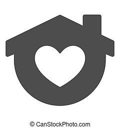 otthon, jelkép, szív, fehér, izolál, mód, alakít, szilárd, háttér., design., pictogram, épület, vektor, glyph, fogalom, háló, graphics., aláír, megállít, mozgatható, icon., maga